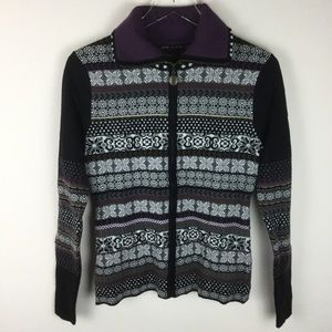 Icelandic Design zip front wool blend sweater S